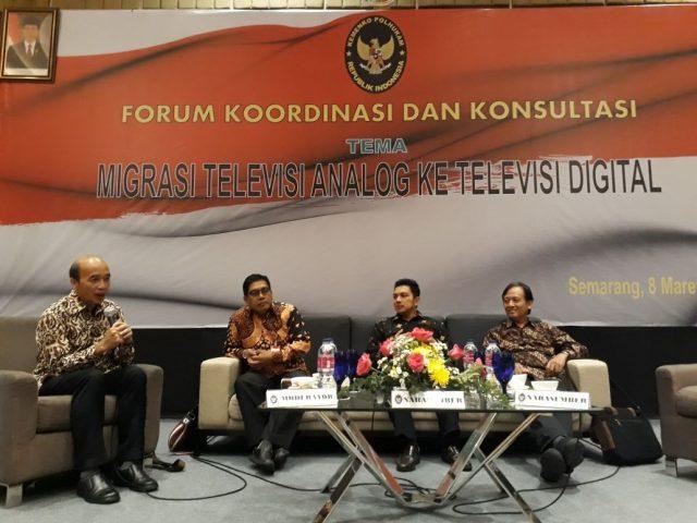 Forum Koordinasi dan Konsultasi (FKK) yang digelar oleh Kementerian Koordinator Bidang Politik, Hukum dan Keamanan di Hotel Crowne Semarang, Kamis (8/3/2018). Forum ini melibatkan stakeholder penyiaran membahas migrasi televisi analog ke televisi digital.
