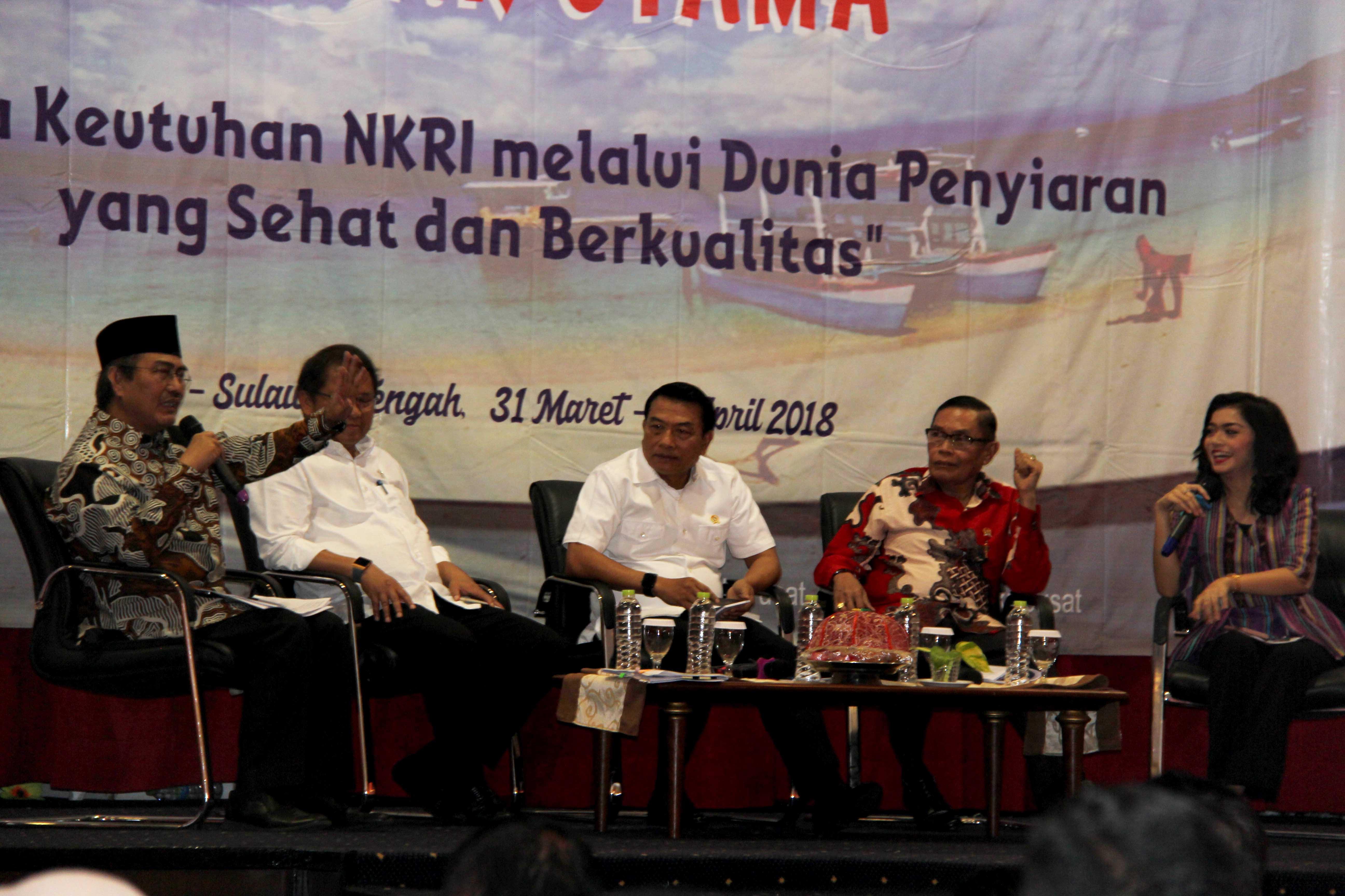 Seminar utama Hari Penyiaran Nasional (Harsiarnas) ke-85 di Convention Hall Hotel Swissbell, Palu, Senin (2/4/2018).